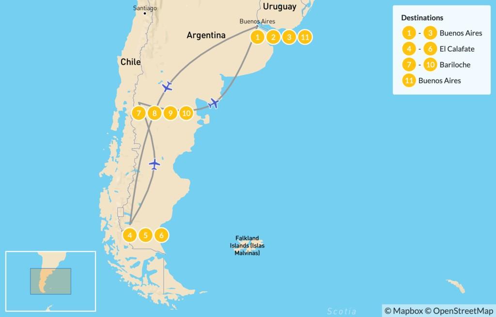 Map of Buenos Aires, El Calafate, & Bariloche - 12 Days