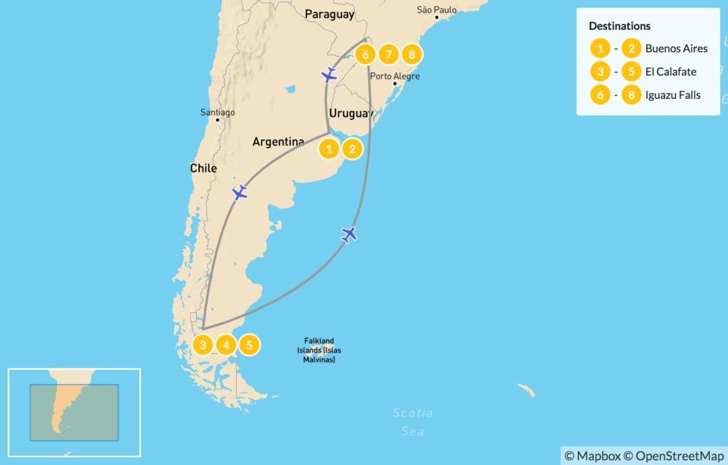 Map of Classic Argentina: Patagonia & Iguazú - 9 Days