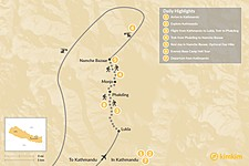 Map thumbnail of Namche Bazaar Trek & Helicopter Tour - 7 Days