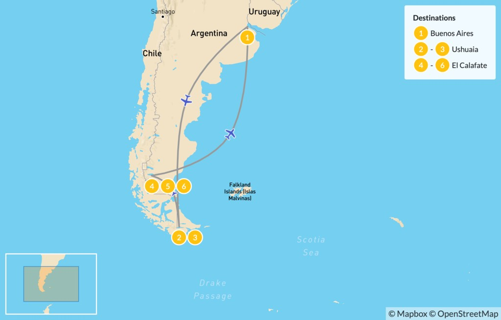 Map of Ushuaia & El Calafate Adventure - 8 Days - 7 Days