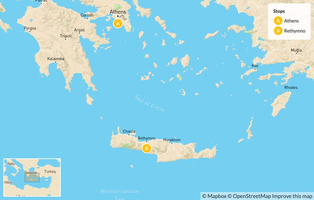 Map of Interactive Athens and Crete for Families - 7 Days
