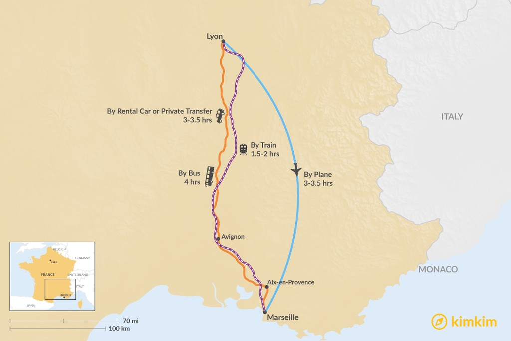 Map of How to Get from Lyon to Marseille