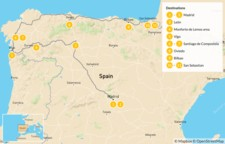 Map thumbnail of Ultimate Northern Spain Road Trip: Madrid, Galicia, & The Basque Country - 12 days