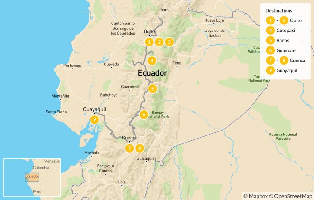 Map of Ecuador Mountains to Coast: Andes, Quito, Cotopaxi, & More - 10 Days