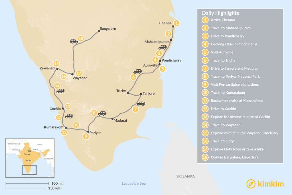Map of South India: Wildlife & Local Traditions - 18 Days