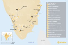 Map thumbnail of South India: Wildlife & Local Traditions - 18 Days