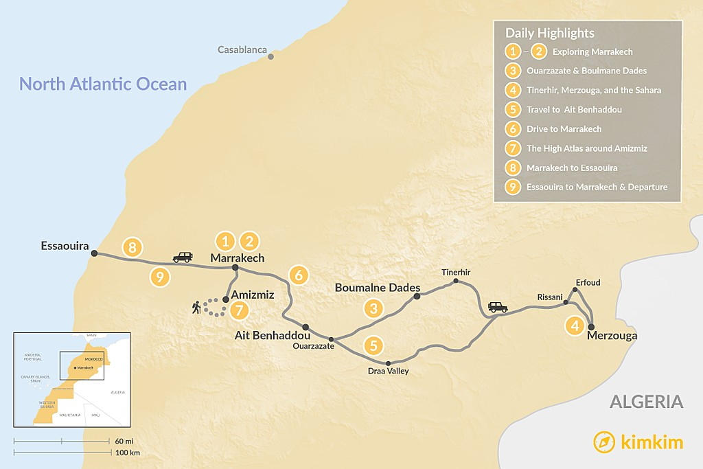 Map of Moroccan Adventure, Culture & Relaxation - 9 Days