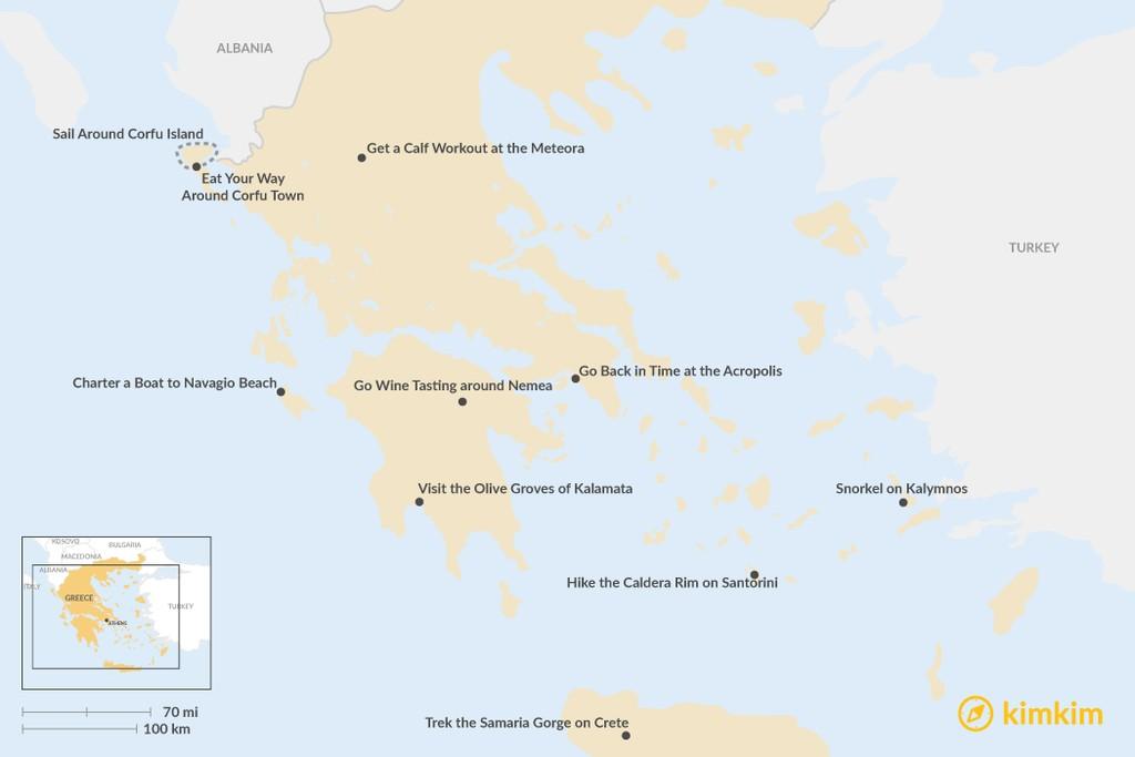 Map of Top 10 Activities in Greece