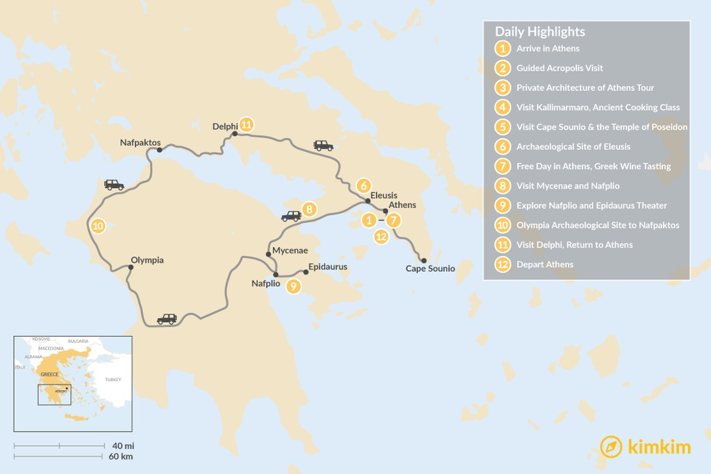 Map of Best of Athens & Ancient Greece - 12 Days