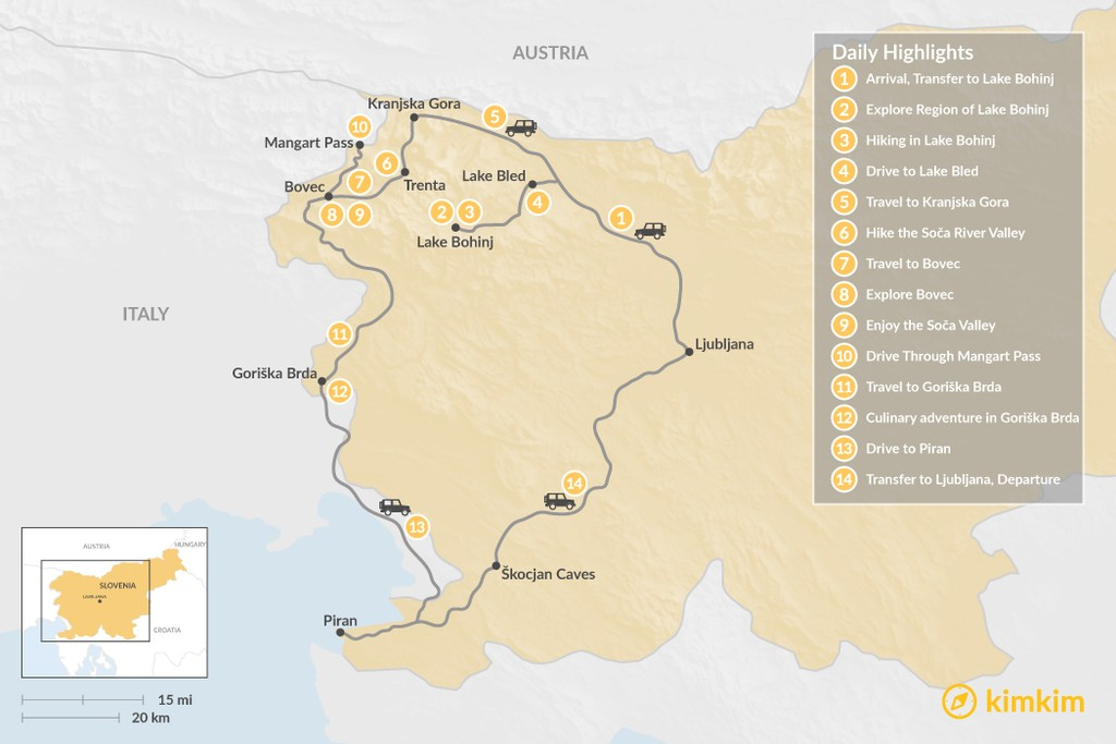 Map of From Slovenia's Alps to the Adriatic: Lake Bled, Soča Valley, Piran - 14 Days