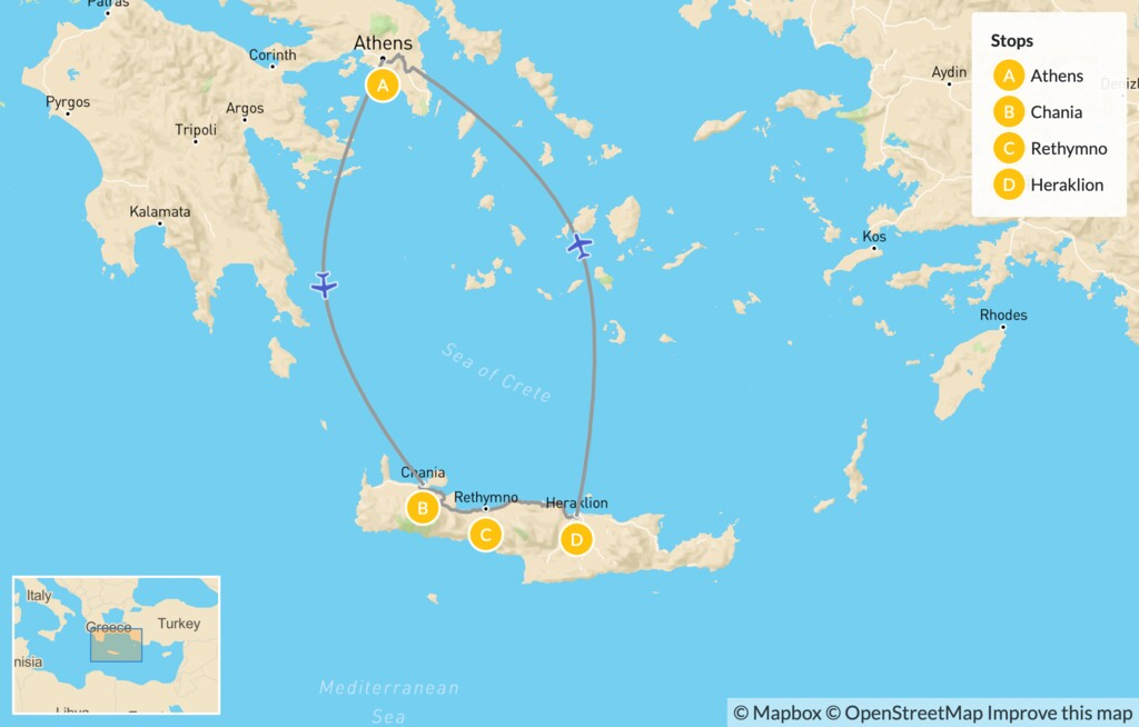Map of Interactive Athens and Crete for Families - 14 Days