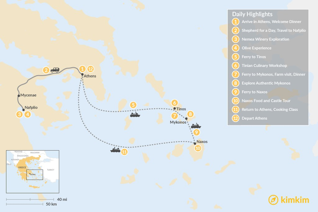 Map of Cyclades & Peloponnese Culinary Heritage - 12 Days