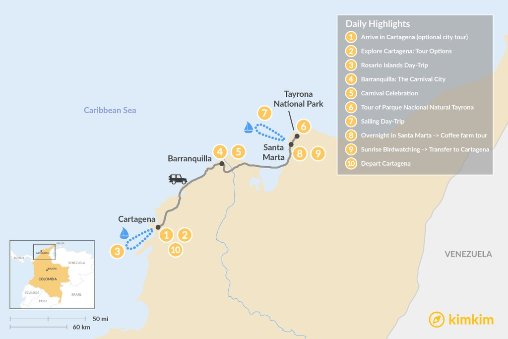 Map of Cartagena, Carnival & the Caribbean Coast - 10 Days