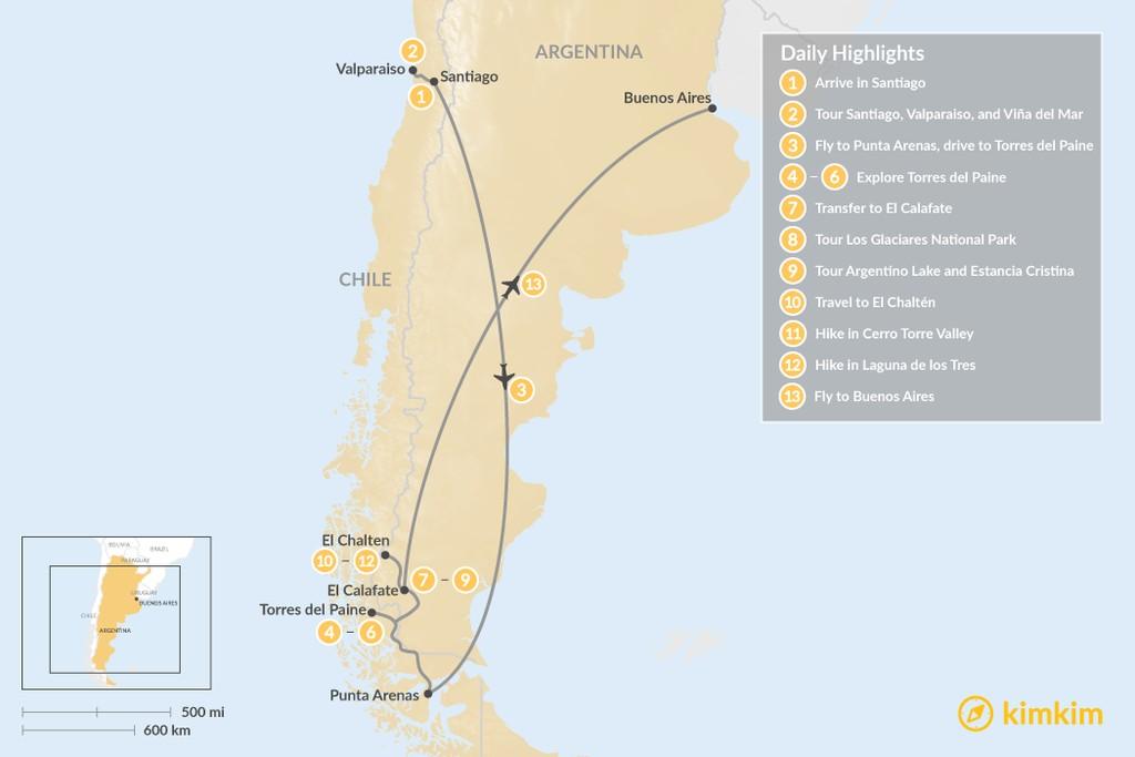 Map of Patagonia Trekking Adventure: Los Glaciares, Torres del Paine, & More - 13 Days