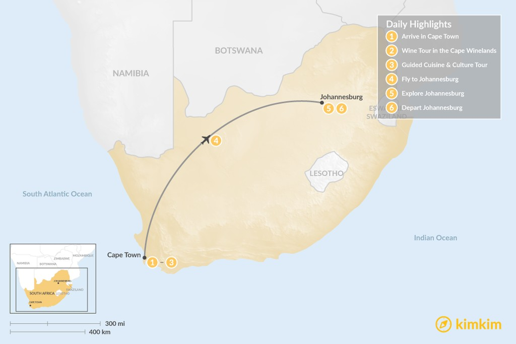 Map of South Africa Food & Wine Tour: Cape Town, Winelands, & Johannesburg - 6 Days
