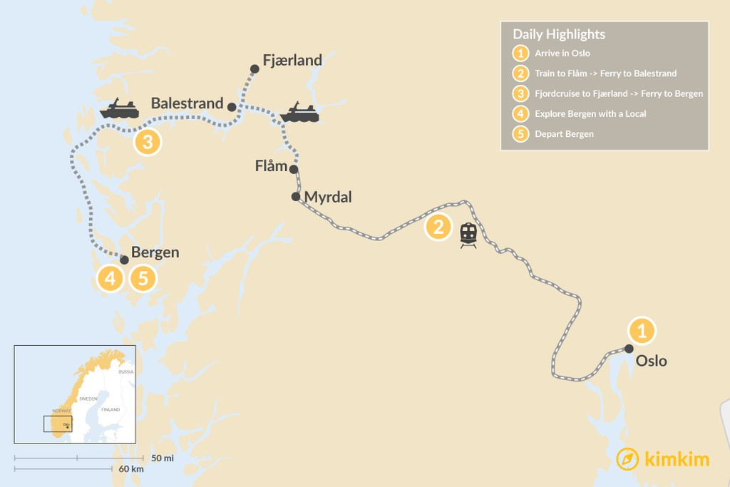 Map of Oslo to Bergen Winter Adventure - 6 Days