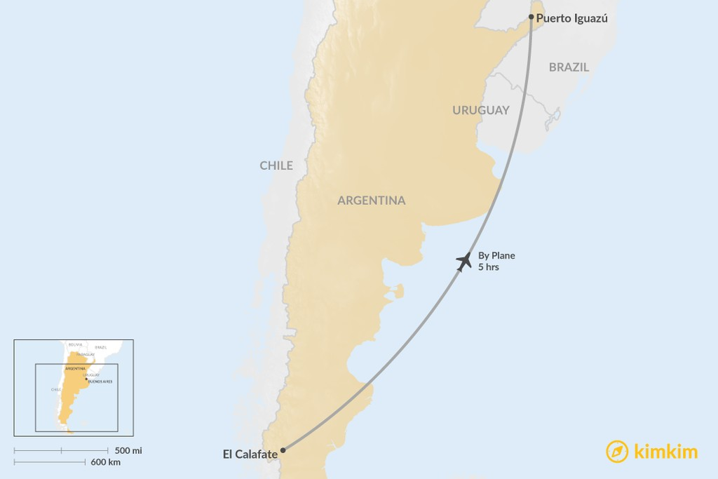 Map of How to Get from El Calafate to Puerto Iguazú