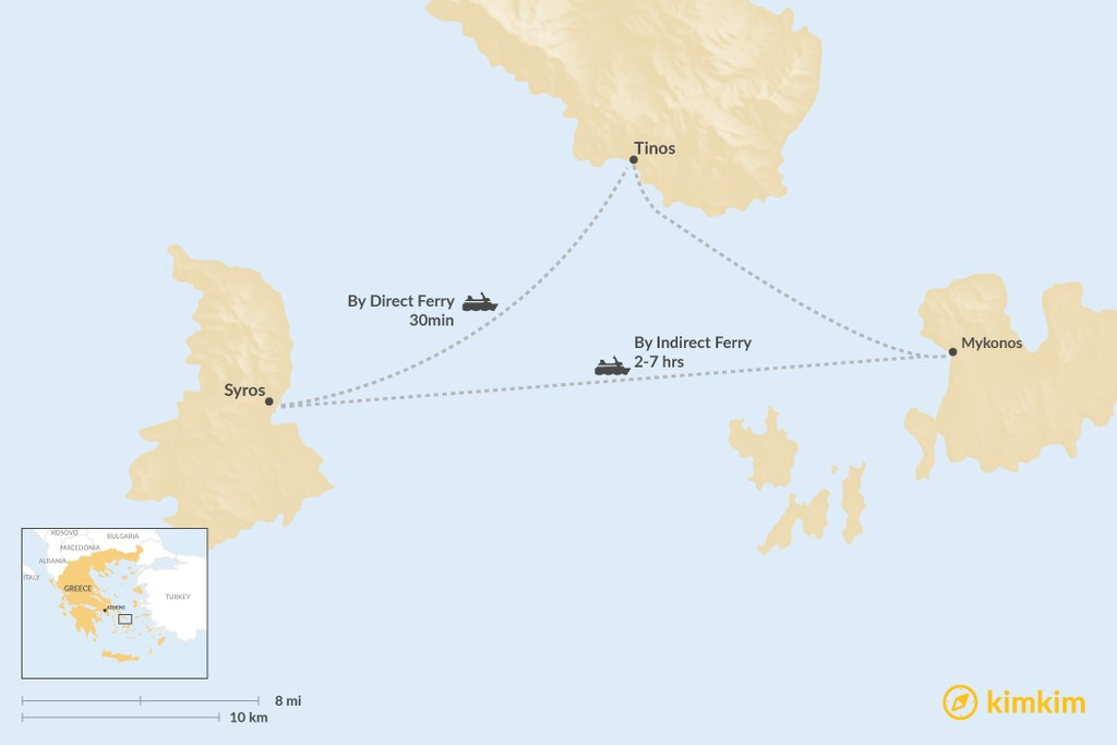 Map of How to Get from Syros to Tinos