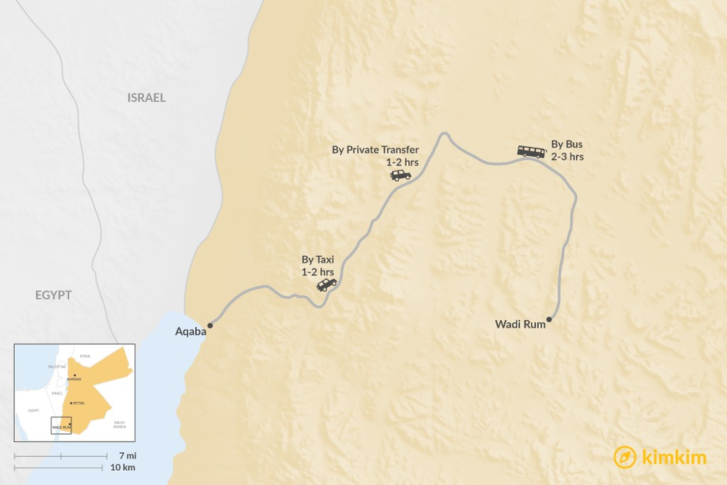 Map of How to Get from Wadi Rum to Aqaba