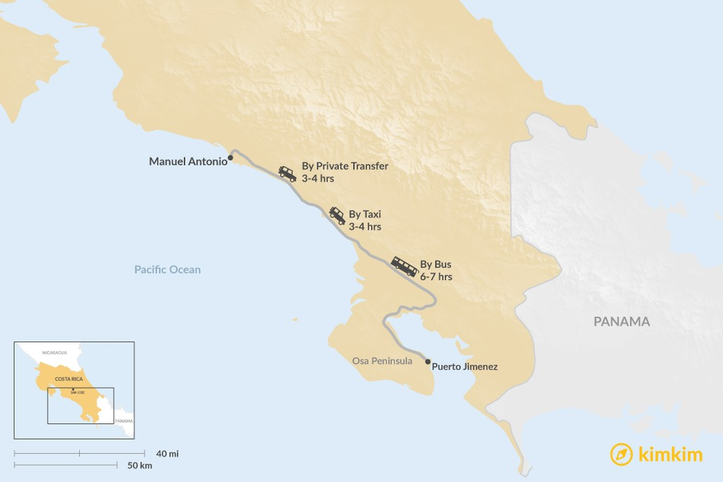 Map of How to Get from Osa Peninsula to Manuel Antonio