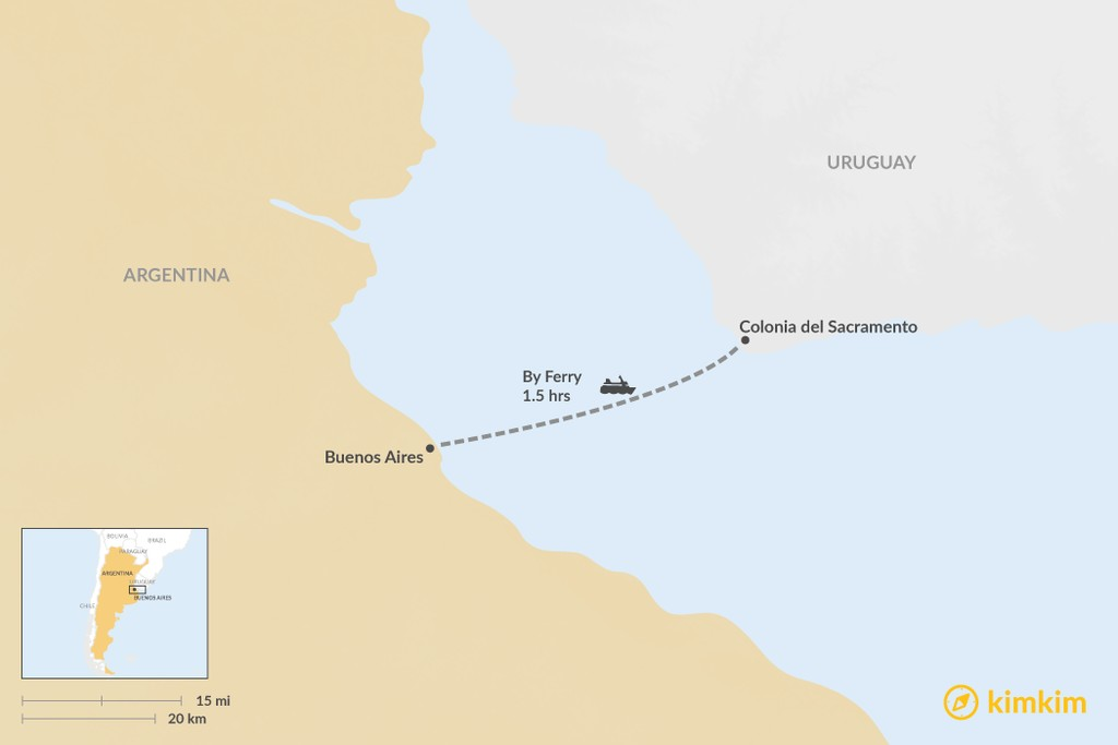 Map of How to Get from Buenos Aires to Colonia del Sacramento