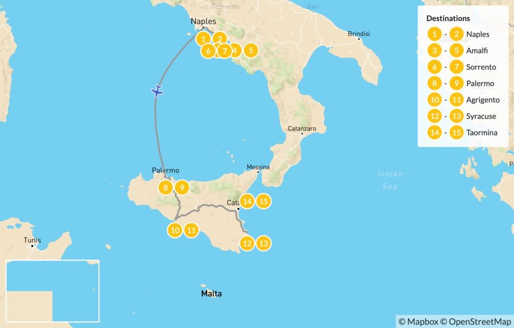 Map of Naples, Amalfi Coast, & Sicily - 16 Days