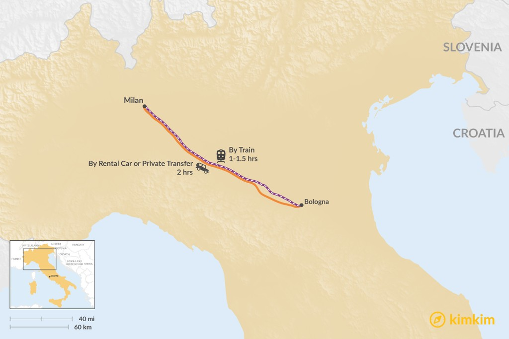 Map of How to Get from Milan to Bologna