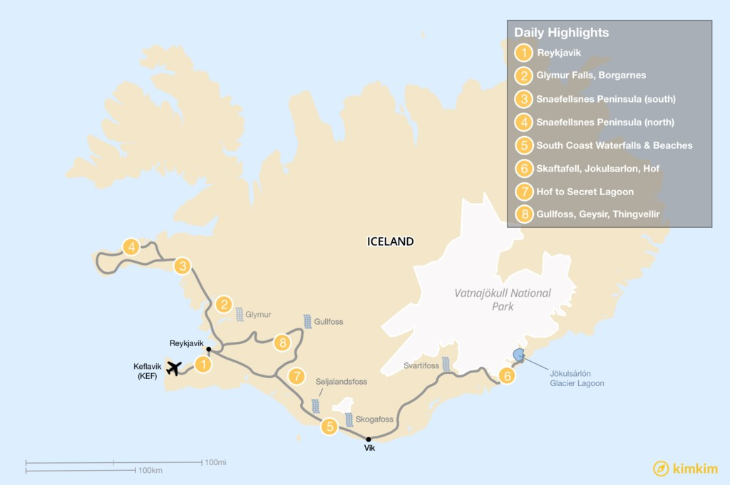 Map of Snæfellsnes Peninsula, Southern Highlights, and Golden Circle: 7-9 day Itinerary