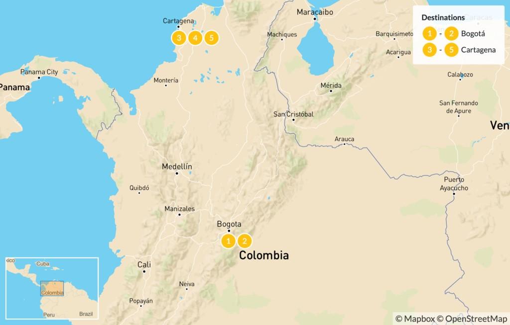Map of Bogota and Cartagena - 6 Days