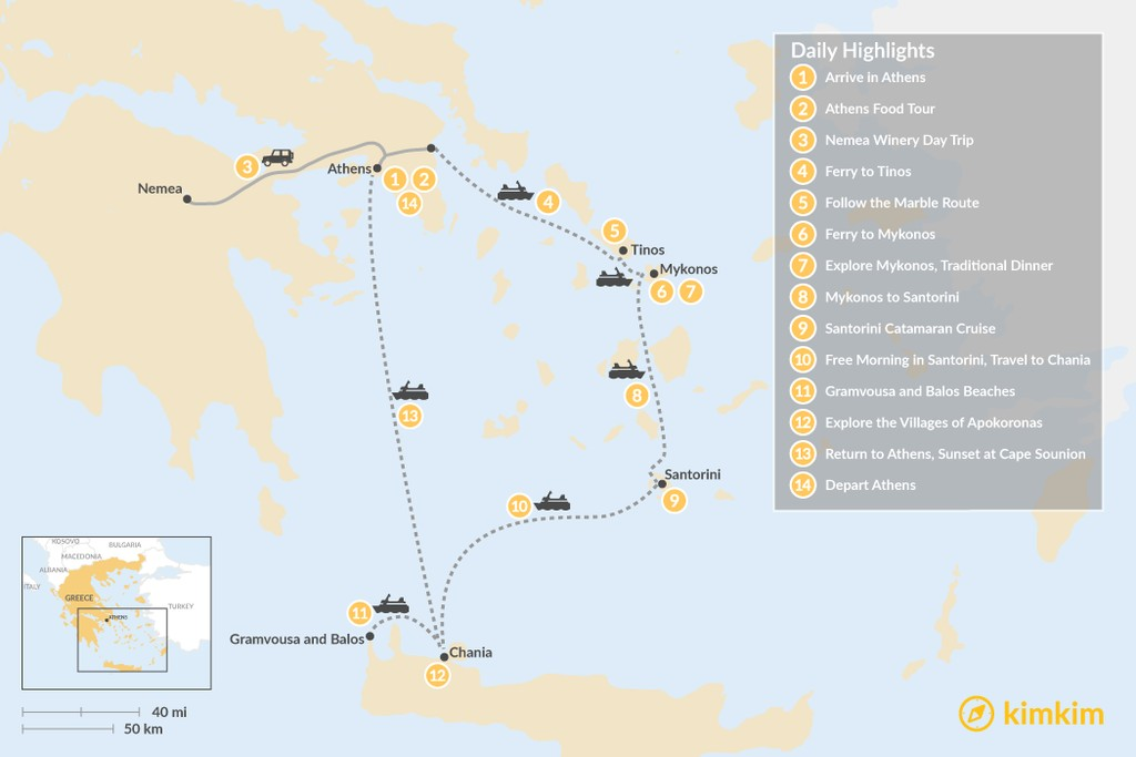 Map of Laidback Athens, Tinos, Mykonos, Santorini, and Crete - 14 Days