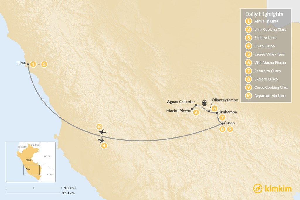 Map of Flavor and Luxury in Peru  - 10 Days