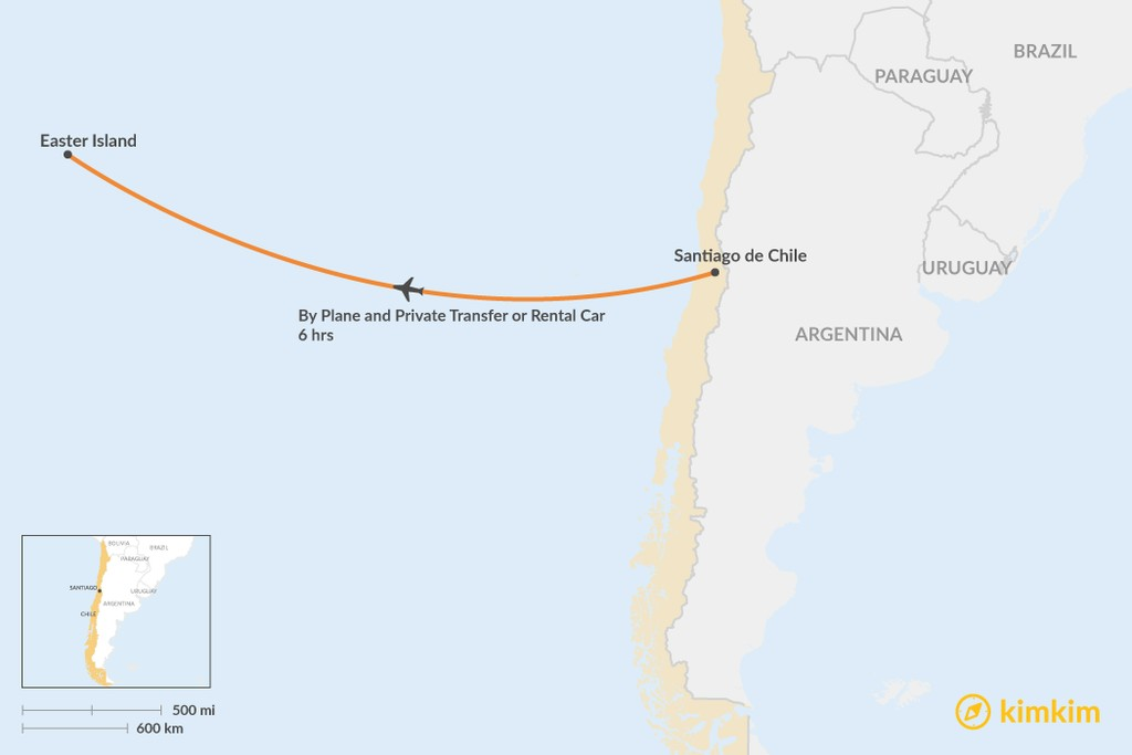 Map of How to Get from Santiago to Easter Island