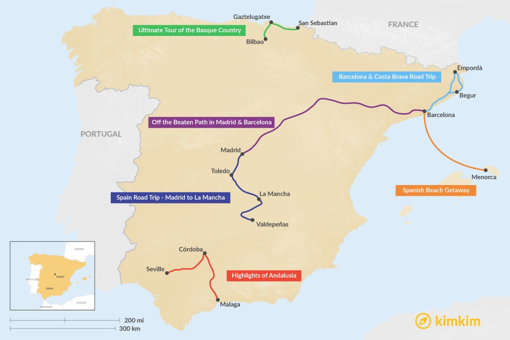 Map of 6 Days in Spain - 6 Unique Itineraries