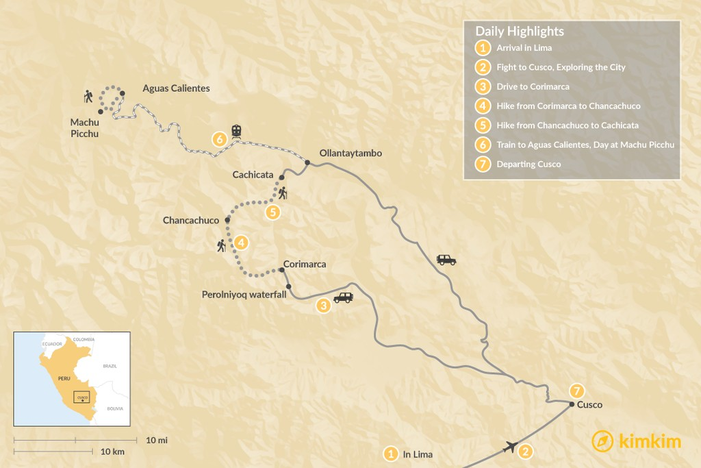 Map of Cachicata Trek to Machu Picchu - 7 Days