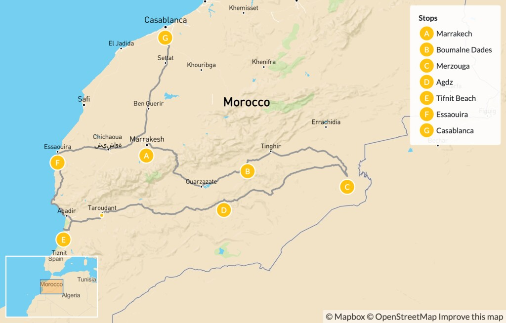 Map of Southern Moroccan Nature & Culture: Marrakech, Boumalne Dades, Essaouira & More - 10 Days