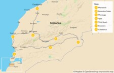Map thumbnail of Southern Moroccan Nature & Culture: Marrakech, Boumalne Dades, Essaouira & More - 10 Days