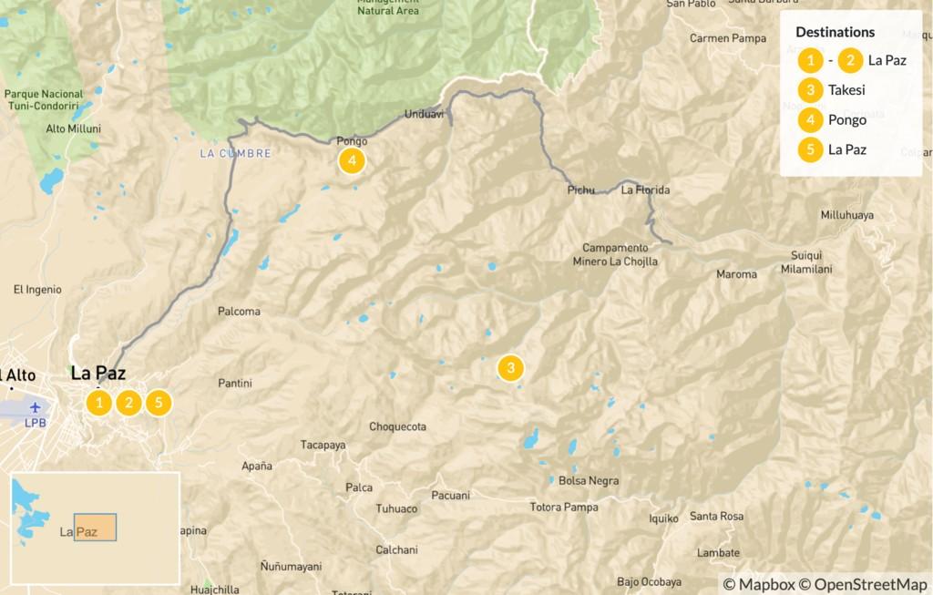 Map of Trekking in Bolivia: La Paz & Cordillera Real - 6 Days