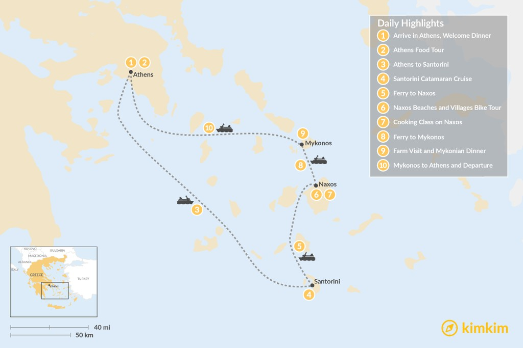 Map of Relaxed Athens, Santorini, Naxos & Mykonos - 10 Days