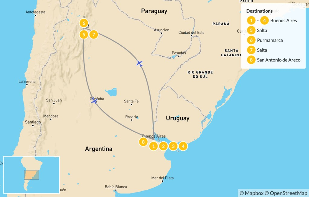 Map of Buenos Aires & Salta Adventure - 9 Days