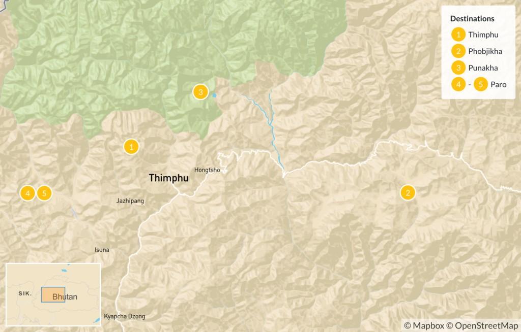 Map of Highlights of Western Bhutan - 6 Days