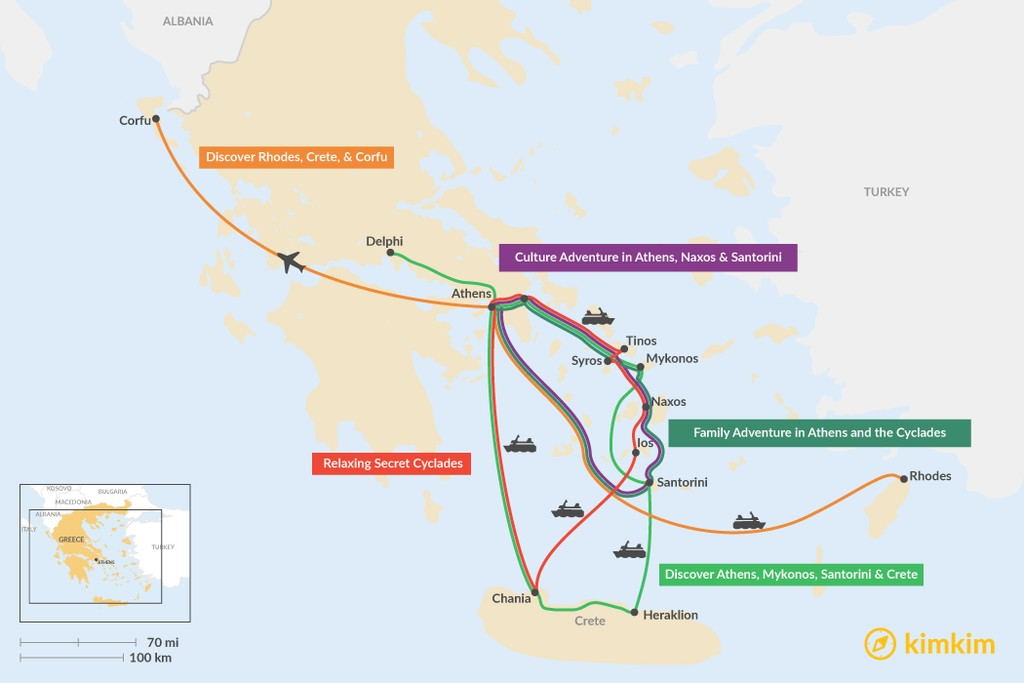 Map of 14 Days in the Greek Islands - 5 Unique Itinerary Ideas