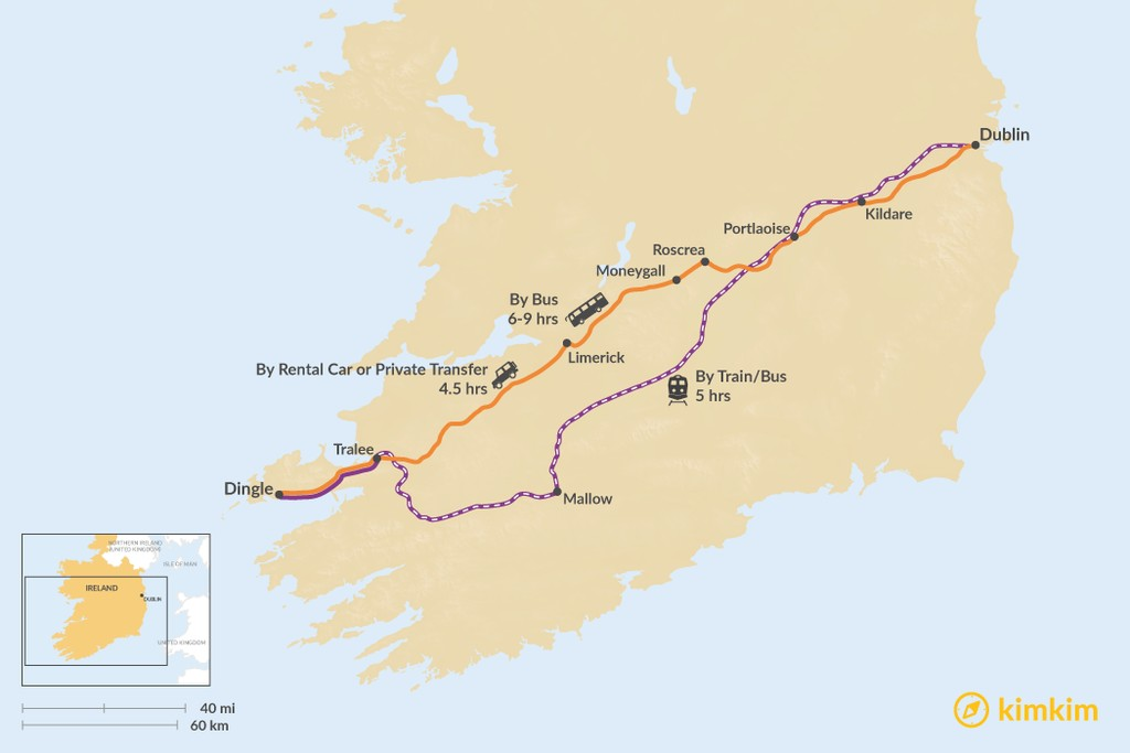 Map of How to Get from Dublin to Dingle Town