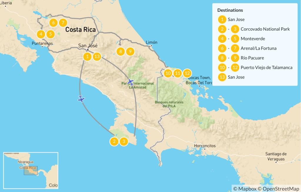 Map of Wildlife, Rainforest & Beach Adventure - 14 Days