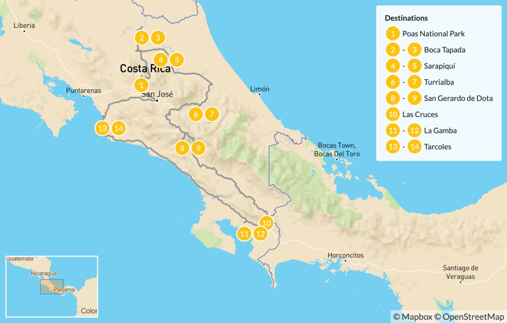 Map of Costa Rica Self-Drive Birding Adventure - 15 Days