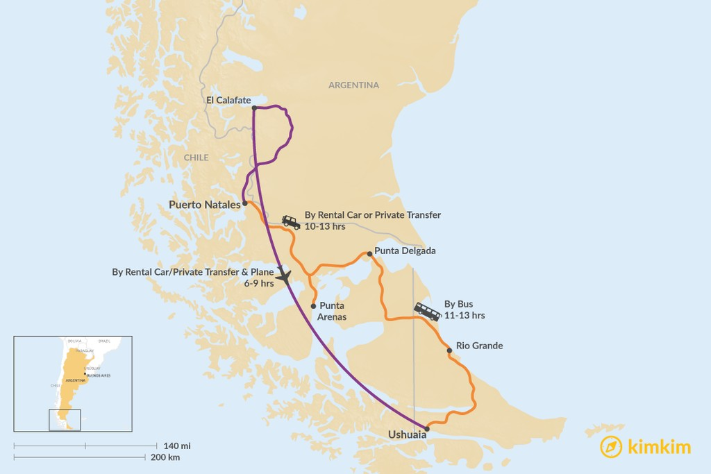 Map of How to Get from Puerto Natales to Ushuaia