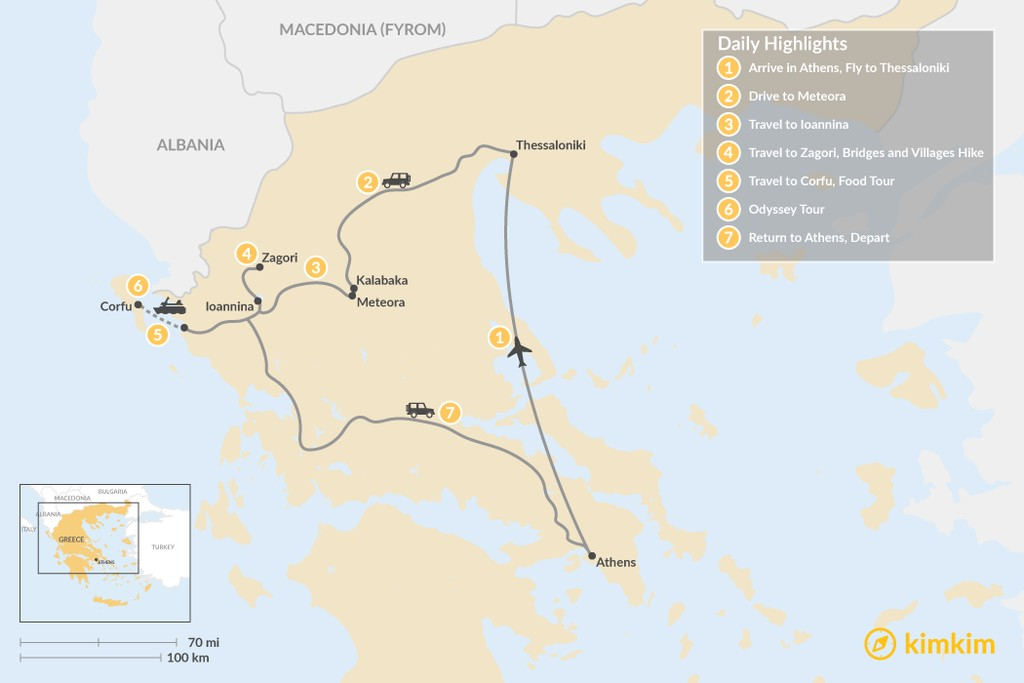 Map of Enchanting Northern Greece and Corfu - 7 Days