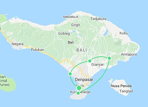 Map of Highlights of Bali - 8 Days