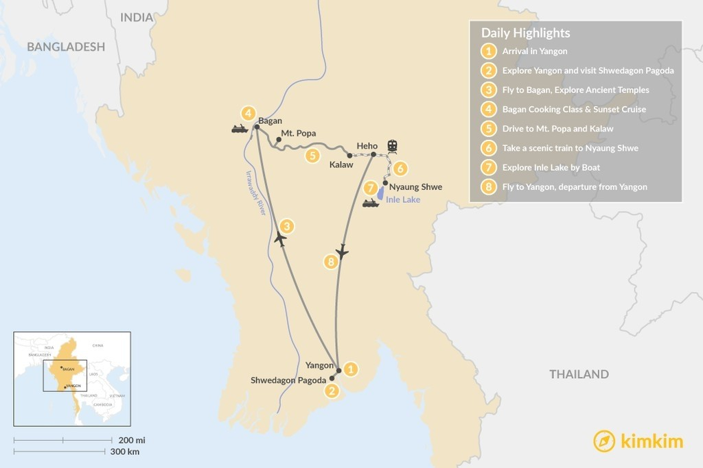 Map of Local Highlights of Yangon, Bagan and Inle Lake - 8 Days