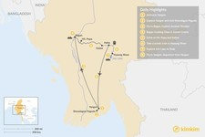 Map thumbnail of Local Highlights of Yangon, Bagan and Inle Lake - 8 Days