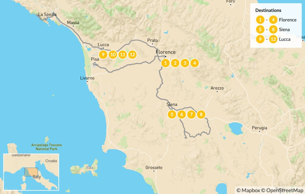 Map of Explore Tuscany: Florence, Siena, Pisa, & Lucca - 13 Days